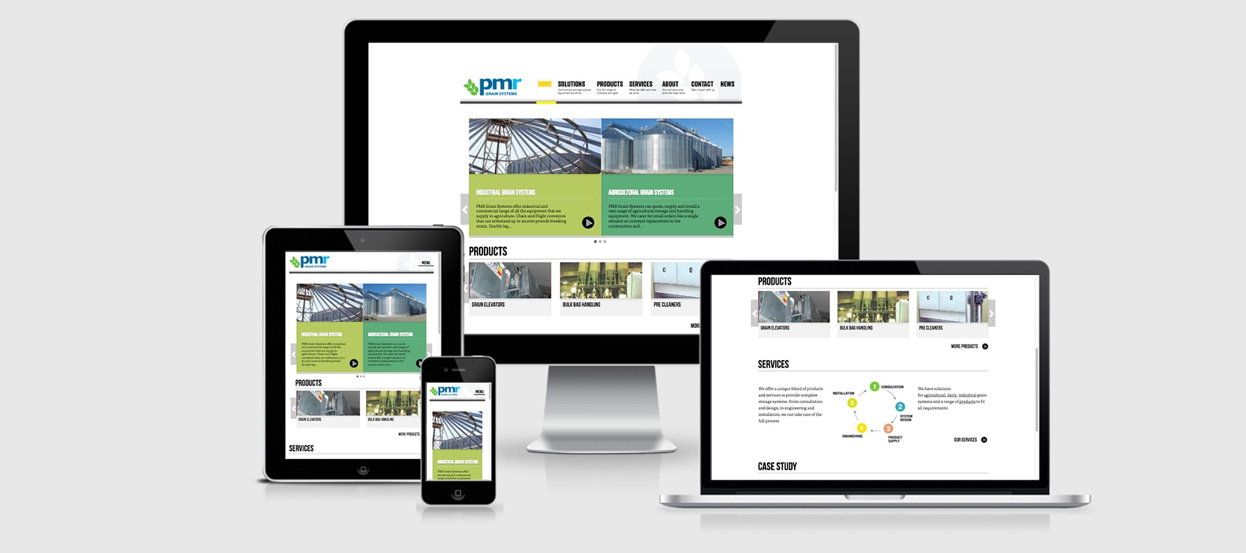 Three devices displaying PMR Grain Systems Responsive website design by Yellow Design