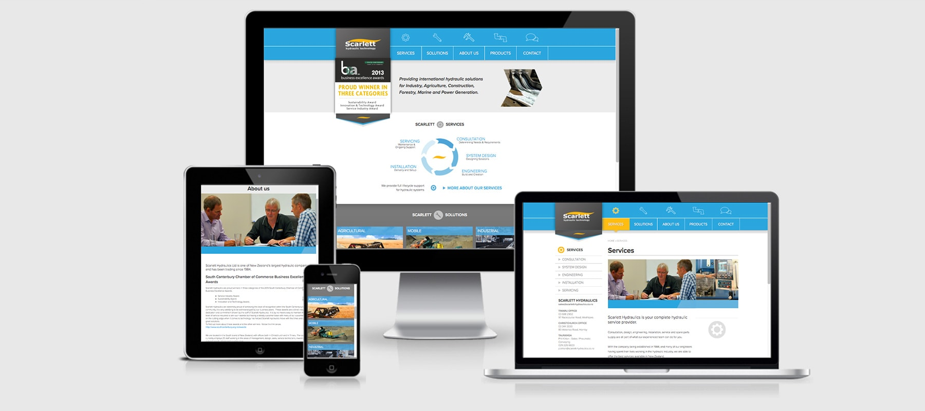 Three devices displaying Scarlett Hydraulics Responsive website design by Yellow Design