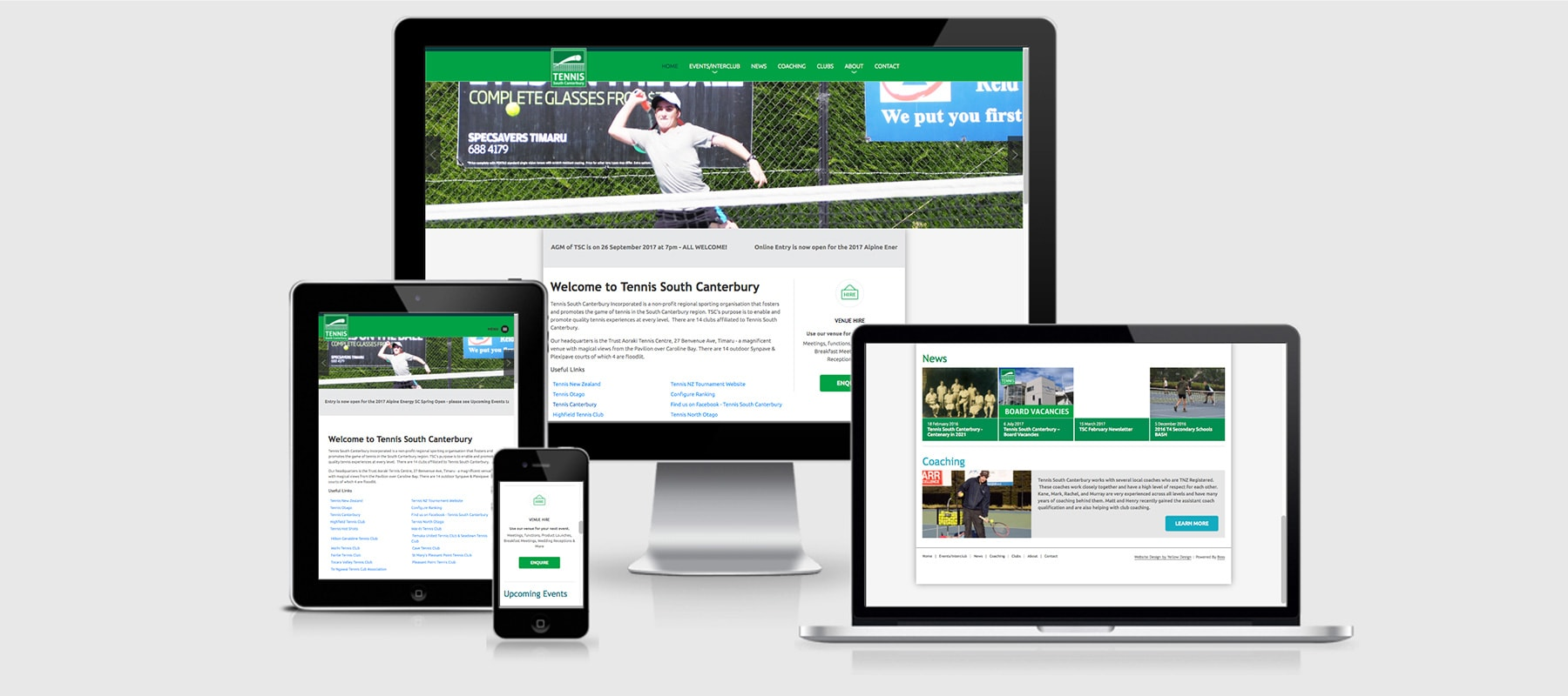 Three devices displaying Tennis South Canterbury's Responsive website design by Yellow Design