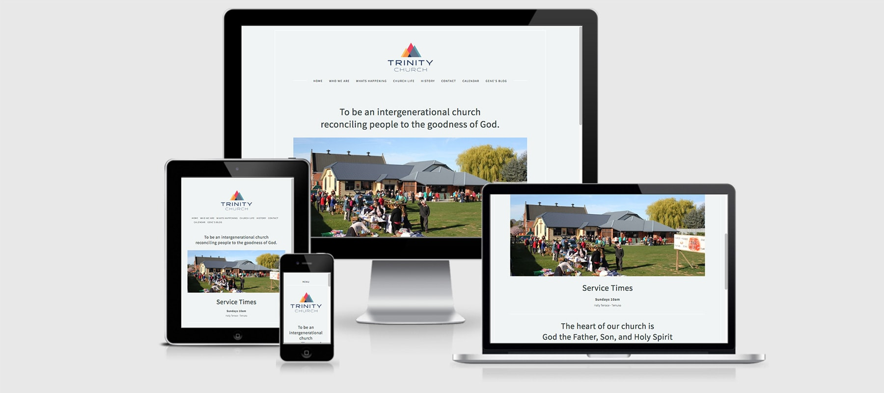Four devices displaying Trinity Church Responsive website design by Yellow Design